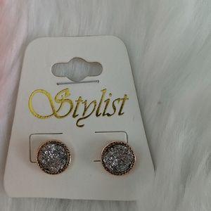 NEW Druzy look Silvertone & Goldtone Stud Earrings